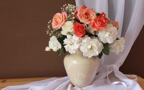Wallpaper vase, roses, bouquet