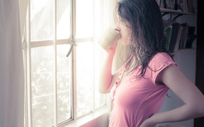 Picture look, girl, background, pink, Wallpaper, tea, mood, coffee, morning, window, Cup, wet hair, brennecka, Kruk