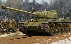 Picture art, soldiers, tank, heavy, Soviet, KV-122