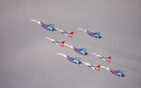Picture Su-27, Swifts, aerobatics, Russian knights, The MIG-29