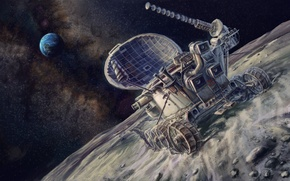 Picture space, picture, art, USSR, painting, painting, landing on the moon, Rover, Earth.