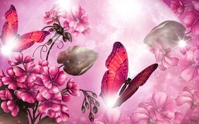 Picture light, flowers, collage, butterfly, Blik