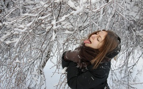 Wallpaper winter, language, girl, mood, icicle, licking