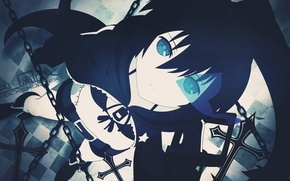 Picture anime, art, girl, chain, black rock shooter, glowing eyes