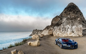 Wallpaper Nature, Mountains, Blue, Stones, Coast, Car, North America, 2016, Metallic, Chiron, BUGATTI