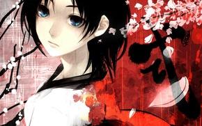 Picture girl, branch, petals, Sakura
