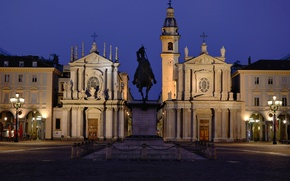 Picture night, lights, area, Italy, monument, Turin