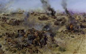 Picture fire, flame, attack, smoke, tanks, shots, artillery, WW2, the artist Terence Cuneo, The Battle Of …