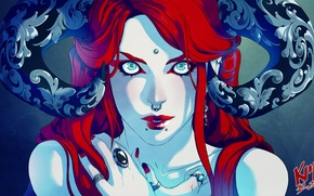 Picture look, fiction, patterns, piercing, ring, art, horns, demoness