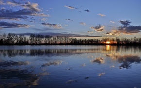 Picture sunset, lake, reflection, the evening