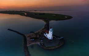 Picture lighthouse, island, panorama, Netherlands, Rozewerf