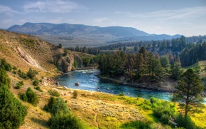 Picture landscape, nature, river, HDR, USA, Yellowstone