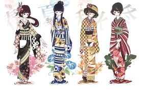 Picture seasons, girls, anime, art, kimono