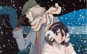 Picture snow, night, headphones, scarf, gloves, fur, cap, Bleach, Bleach, Bleach Urahara, Kuchiki Rukia, Shinigami, by …