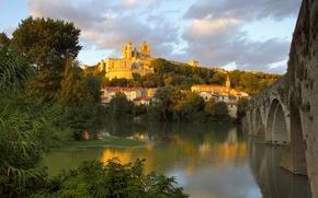 Wallpaper bridge, river, France, Church, St. Nazaire