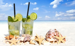 Picture sea, beach, shell, beach, drink, mojito, cocktail, lime, Mojito, seashells