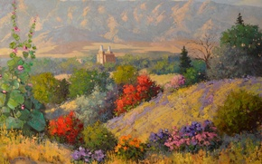 Picture landscape, flowers, mountains, castle, hills