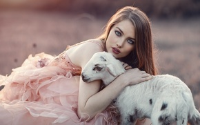 Picture look, girl, mood, makeup, dress, goat