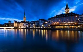 Picture light, night, the city, lights, home, Switzerland, backlight, Zurich, Zurich