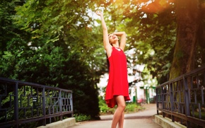 Picture summer, girl, smile, dress, in red