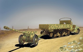 Picture war, figure, Ford, truck, gun, WW2, anti-tank, Maultier, Pak 36, V3000