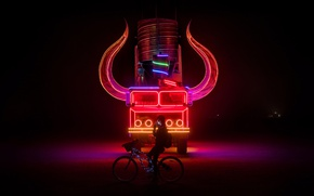 Picture girl, horns, bike, night, truck, neon