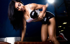Wallpaper woman, brunette, dumbbell, gym, fitness, muscles, sportswear