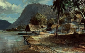 Wallpaper palm trees, mountains, art, Battlefield, Bad Company 2, shore, shacks, figure, lake, landscape
