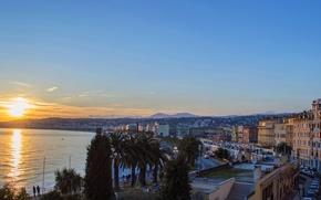 Picture sea, the sky, sunset, palm trees, coast, France, home, Nice