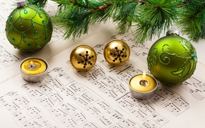 Picture winter, balls, notes, balls, pattern, spruce, branch, candles, New Year, green, Christmas, tree, bells, Christmas, …