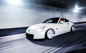 Picture road, white, speed, Nissan, white, sports car, 350z, Nissan, in motion