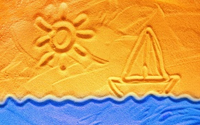 Picture sand, wave, the sun, figure, sailboat