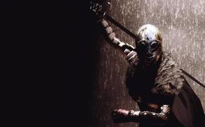 Picture girl, rendering, background, sword, armor, warrior