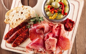 Picture photo, food, bread, vegetables, sausage, ham, products, meat