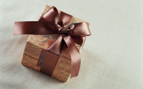 Wallpaper gift, tape, bow, brown, box