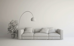 Wallpaper design, lamp, couch, living