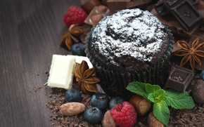 Picture white, berries, raspberry, black, chocolate, nuts, mint, almonds, hazelnuts, cupcake, blueberries, milk, star anise, muffin