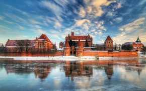 Picture ice, winter, the sky, clouds, lake, reflection, castle, Poland