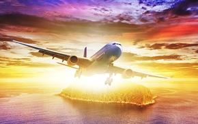 Picture sea, the sky, the sun, flight, landscape, the plane, island, glow