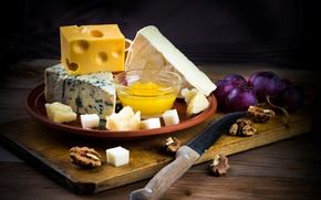 Picture berries, cheese, honey, grapes, knife, Board, nuts, honey