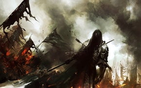 Wallpaper weapons, warrior, flags, the battle, Art, arrows