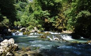 Picture rocks, waterfall, mountain river, Abkhazia