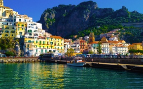 Picture the city, home, pier, Italy, pierce, Amalfi