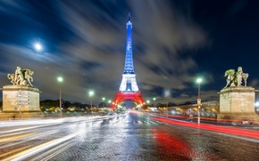 Picture light, night, lights, France, Paris, lights, Eiffel tower