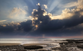 Picture sea, the sky, clouds, coast, horizon, UK, the rays of the sun, Wales, Dunraven Bay