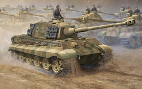 Picture war, tank, Art, Stroy, heavy, German, Tiger II, PzKpfw VI Ausf. B, Tank weapon, Royal …