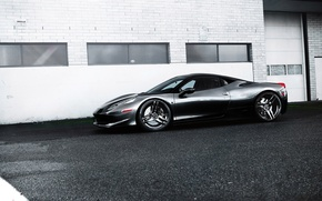 Picture grey, black, the building, Windows, profile, wheels, ferrari, Ferrari, drives, black, grey, Italy, 458 italia