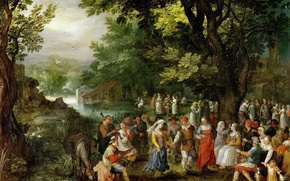 Wallpaper Wedding, genre, Jan Brueghel the elder, picture