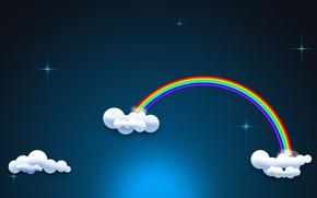 Picture the sky, stars, clouds, rainbow, minimalism, Night