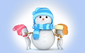 Picture rendering, snowman, christmas, new year, winter, snow, cute, snowman, kids